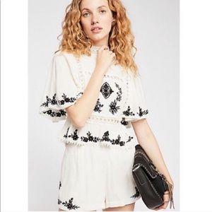 Free people Abbie embroidered shorts set NWOT